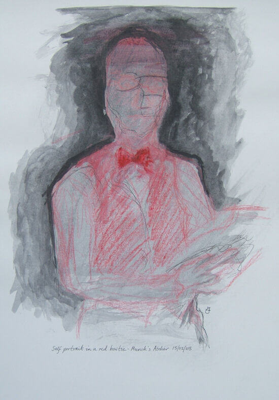Self-portrait in a red bowtie (Edvard Munch's studio)